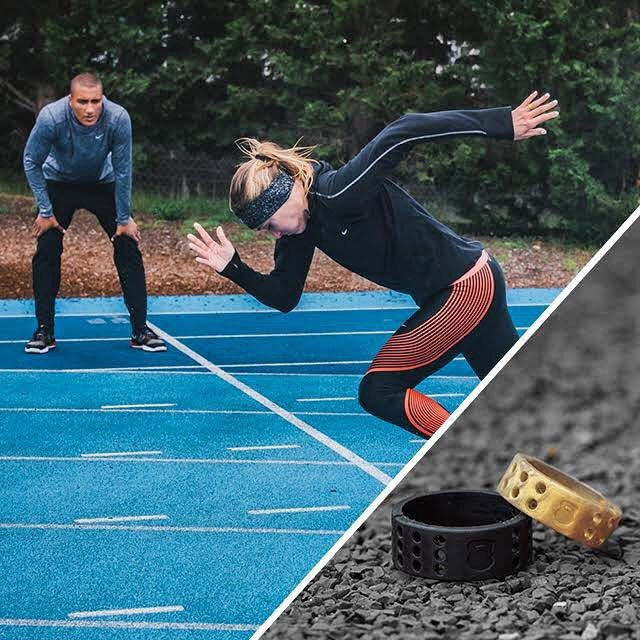 Brianne Theisen-Eaton & Ashton Eaton training hard together on their #RoadToRio. Both now have the new QALO Athletics rings they can wear during all of their events!  #ReadyForAnything #QALOring