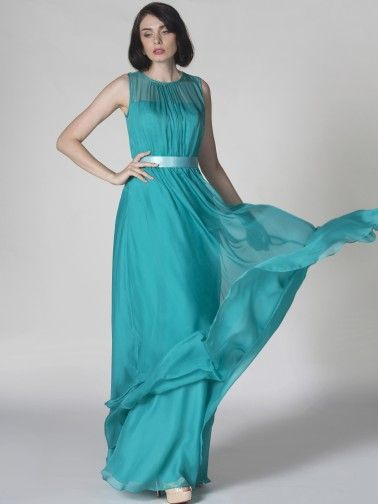 Pin to Win a Wedding Gown or 5 Bridesmaid Dresses! Simply pin your favorite dresses on www.forherandforhim.com to join the contest! | Illusion Neckline Sheer-Chiffon Dress $189.99