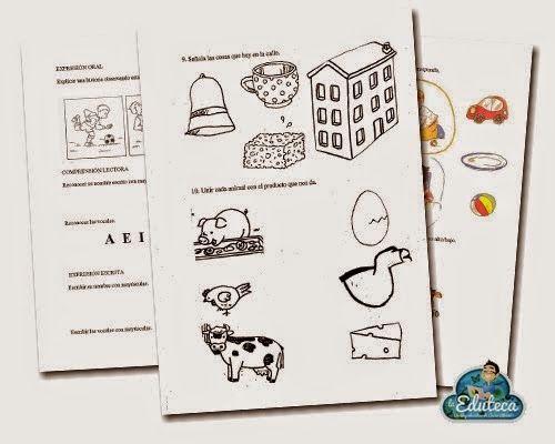 Pruebas de Evaluación Inicial para Educación Infantil de 3 años en Comunicación Lingüística, Matemáticas y Conocimiento del entorno, elaboradas por laeduteca.blogspot.com.es.