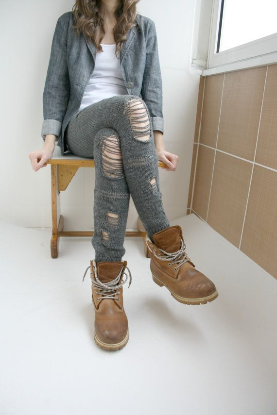 Hey, I found this really awesome Etsy listing at https://www.etsy.com/listing/153761164/charcoal-gray-knitted-stretch-leggings