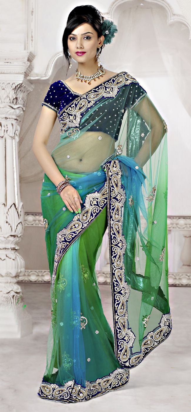 Applique Art Silk Shaded Green Color Beautiful Net Fabric Saree !!  Item Code: SAKM1110 !! PRICE:- 24545 /- INR !!  Style: Designer Saree occasion: Party, Wedding, Festival, Reception fabric: Art Silk, Net color: Green Catalog No.: 1162 work: Embroidered, Stone, Cut Work  SHOP THIS SAREE FROM HERE http://www.vivaahsurat.com/sarees/applique-art-silk-shaded-green-color-beautiful-net-fabric-saree-sakm1110