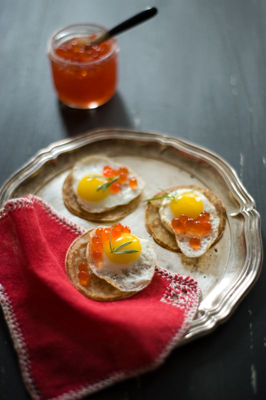 Salmon Roe and Quail Egg Blini | Bon appétit ! | Pinterest