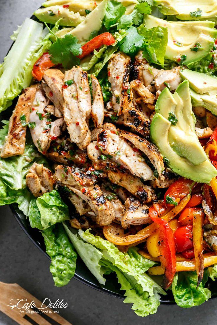 Chili Lime Chicken Fajita Salad IMAGES | cafedelites.com