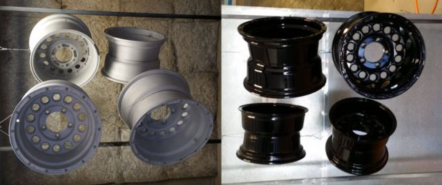 Old School Rims Left is sandblasted to clean metal Right is powder coated super mirror black powder coat