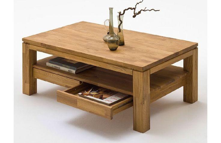 Table en chêne avec tiroirs - Mobilier de salon contemporain -Meuble et Canape.com