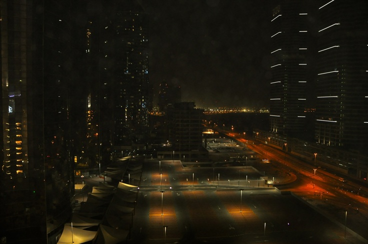 The Streets of Dubai at night.