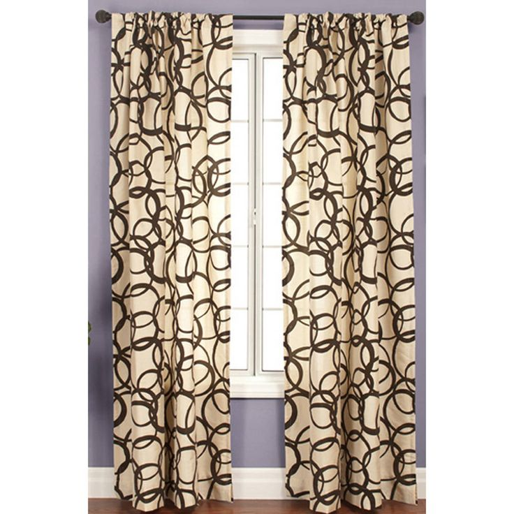 Softline Nirvano 84-inch Rod Pocket Curtain Panel (Latte/Chocolate), Brown, Size 55 x 84 (Polyester, Graphic Print)
