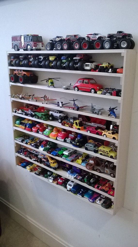 Hot Wheels, Matchbox, Cars, Monster Trucks, Legos, Planes Fire and Rescue, wall display rack, toy storage, boy room decor, storage at home