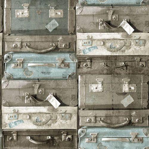 Staplade resväskor i beige och turkosa nyanser