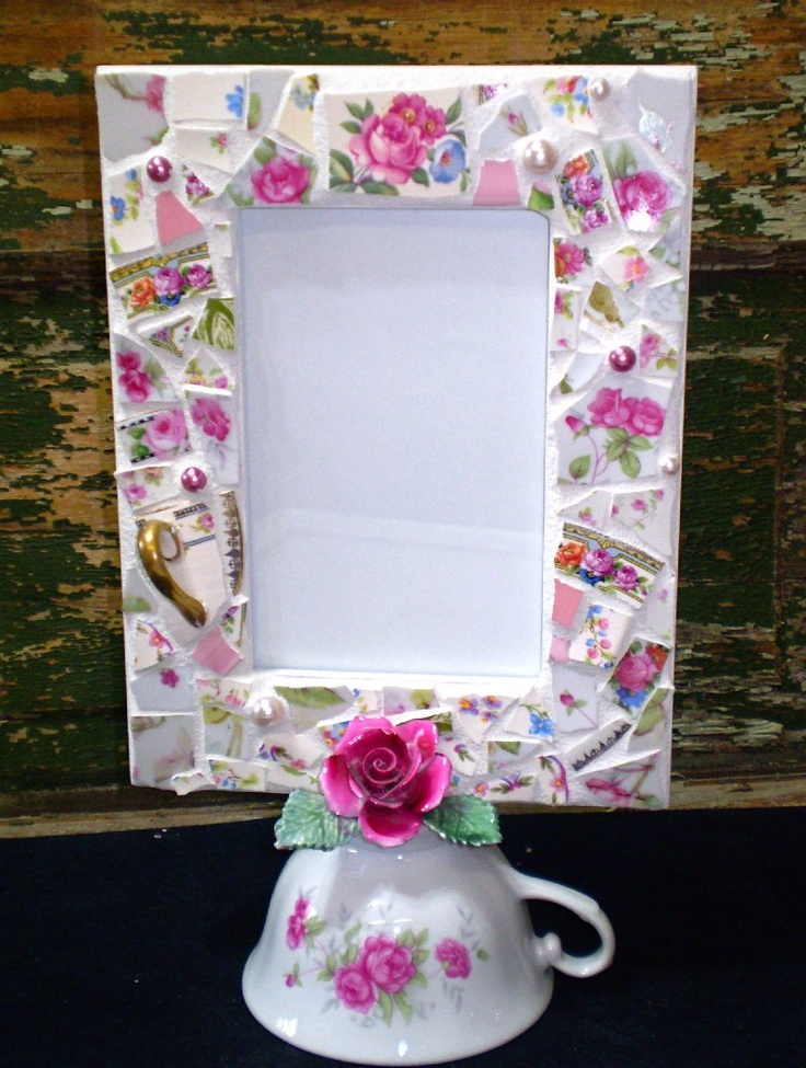 Mosaic Picture Frame with Vintage Teacup. $80.00, via Etsy.