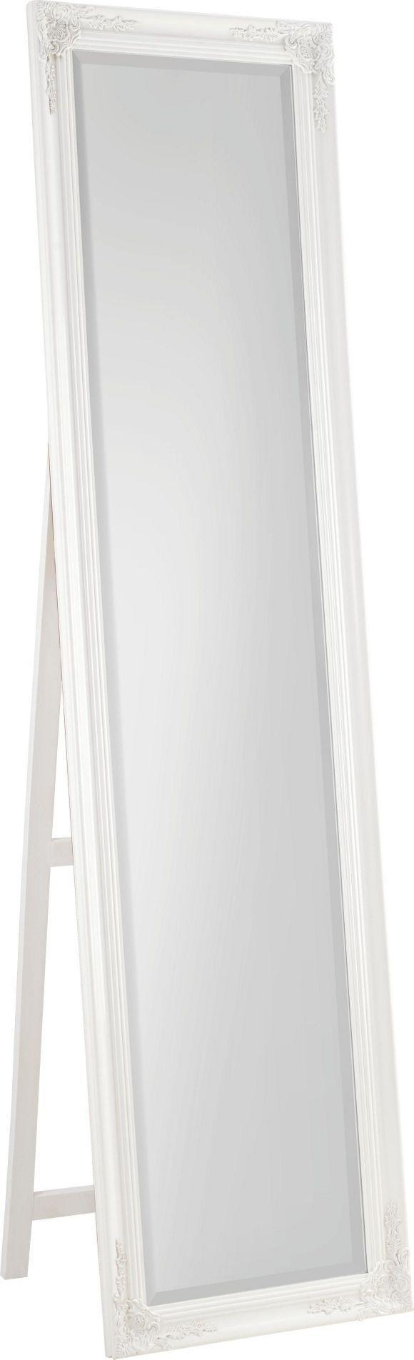Dieser kunstvoll verzierte Standspiegel ist ein echter Hingucker in Ihrem Zuhause. Das beweist schon der weiße Rahmen. Dank der Höhe von ca. 180 cm ist das Accessoire bestens als Ganzkörperspiegel geeignet. So können Sie sich schnell vom perfekten Sitz Ihrer Kleidung überzeugen. Verschönern Sie Ihre Räume mit diesem chicen und praktischen Standspiegel!