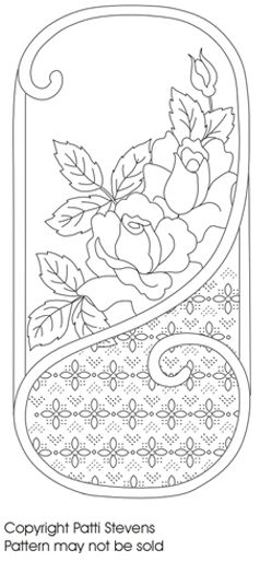diamonds and flowers in colored thread, then fill in behind roses with thread that matches material