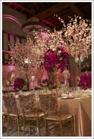 cherry blossom/orchid centerpiece