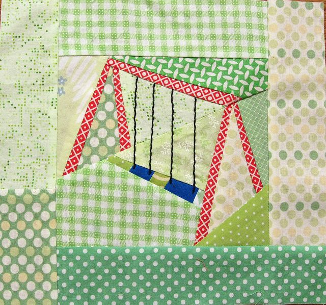 swingset block design by quirky granola girl: Swingset Blocks, Quiltblock, Pieces Swings, Paper Found, Paperpiecing, Paper Pieces, Paper Pieced, Swings Sets, Crafts