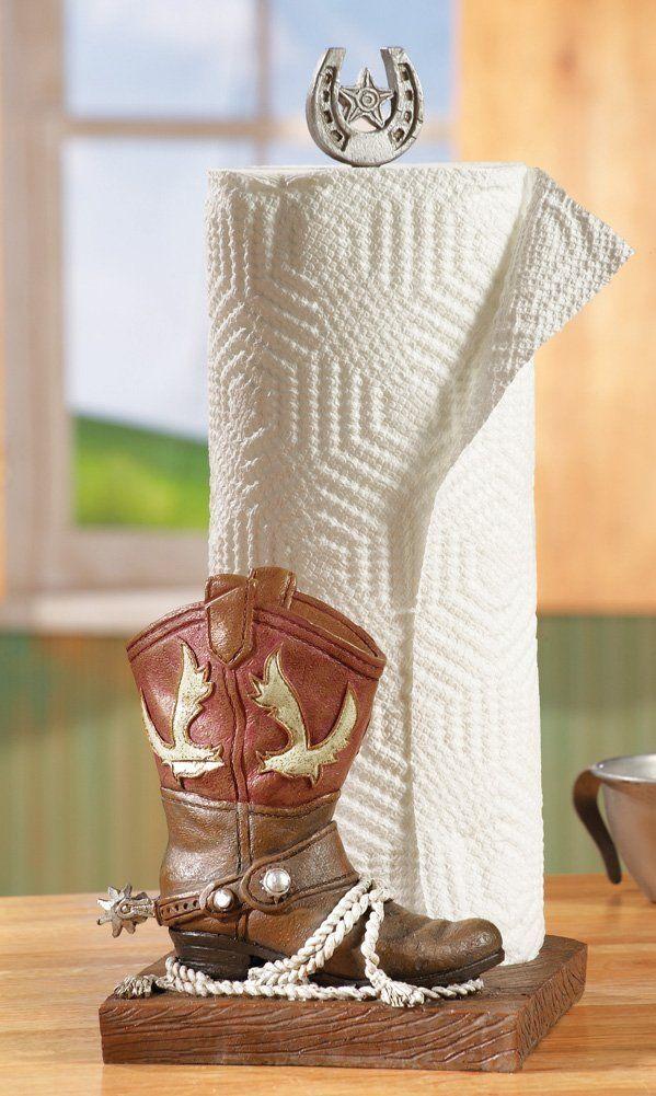 Western Cowboy Boot Paper Towel Holder