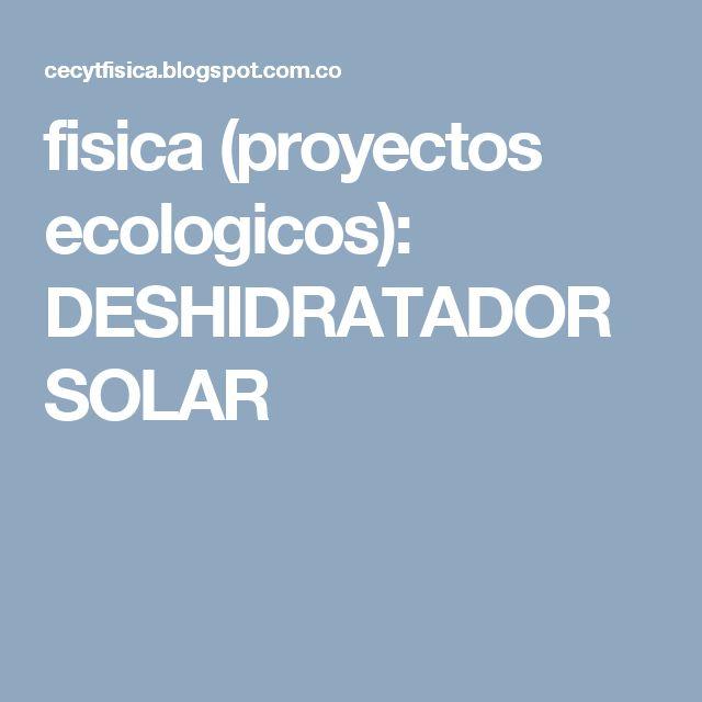 fisica (proyectos ecologicos): DESHIDRATADOR SOLAR