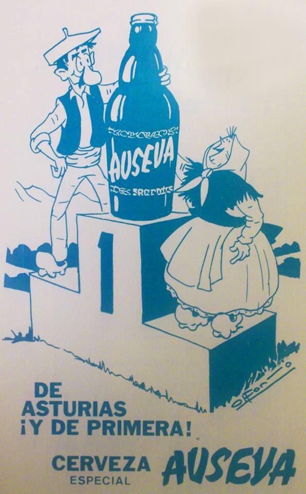 Anuncio de 1973 de la cerveza AUSEVA, fabricada por la Estrella de Gijón, dibujado por el genial Alfonso Iglesias