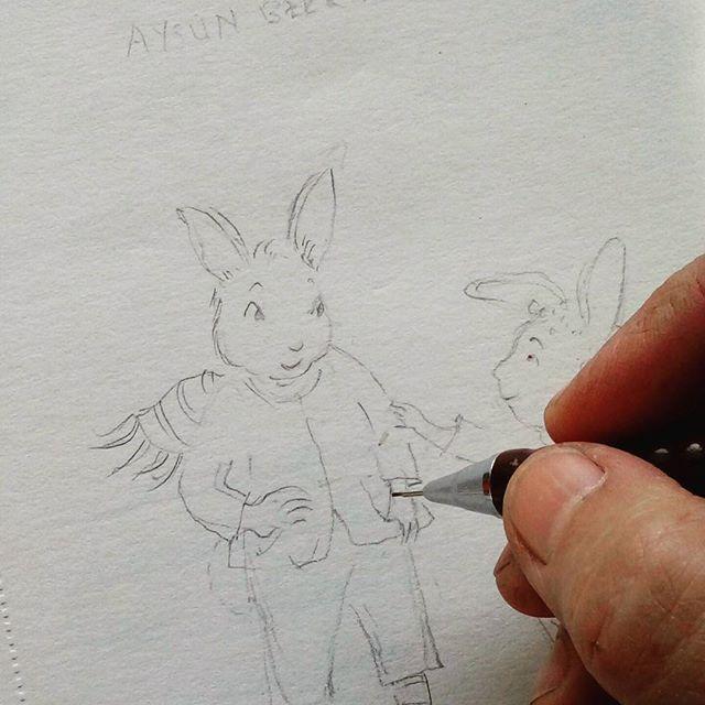 Bir tavşan hikayesine başlarken #painting #illustration #childrenbook #animalstory #artdrawing #çocukkitabı