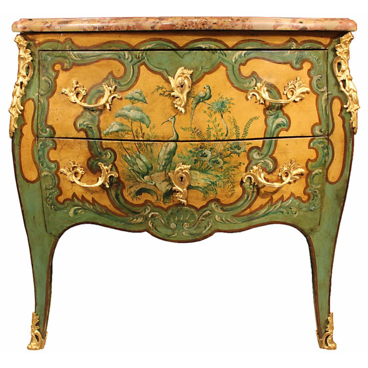 A French mid 19th century Louis XV st. painted commode   1stdibs.com