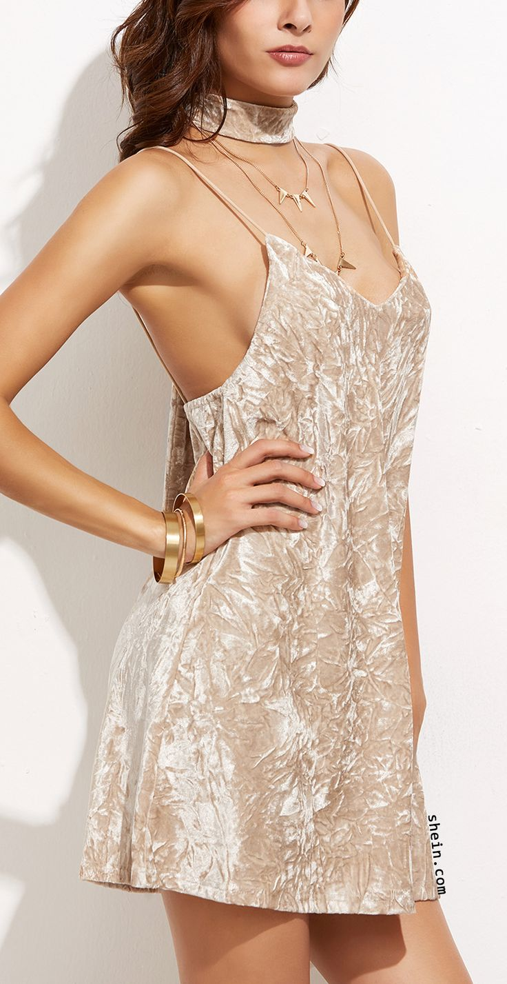 Apricot Crushed Velvet Cami Dress With Neck Tie.