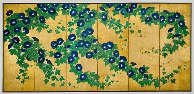 Suzuki Kiitsu (Japanese, 1796–1858)  Morning Glories  Edo period