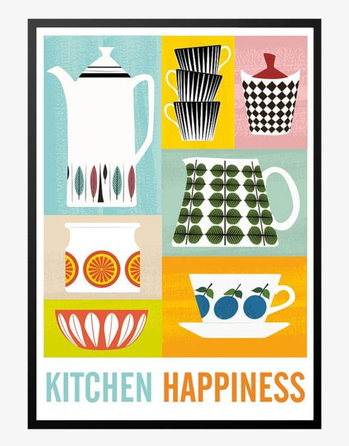 kitchen happiness retro plakat
