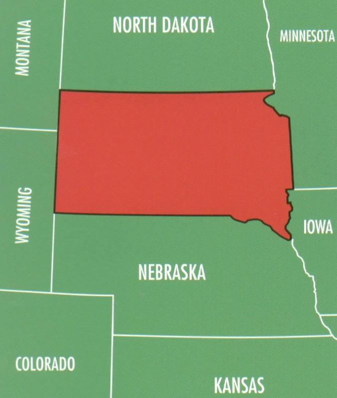 South Dakota borders 6 states