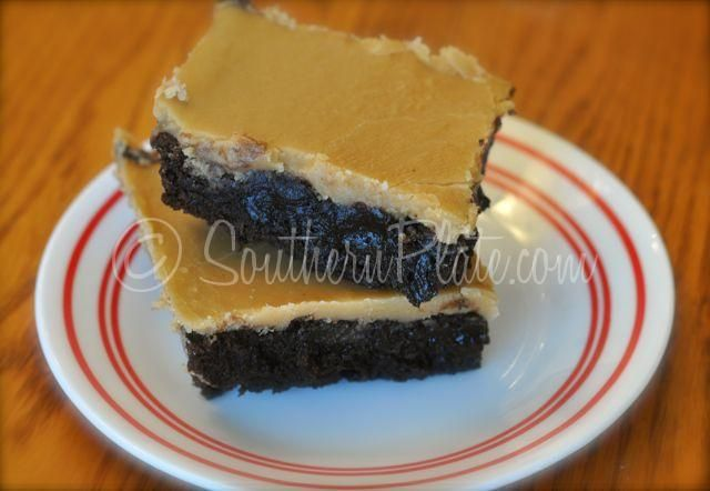 "Peanut Butter Fudge Iced Brownies! Oh my sweet stars! Yum! ""chocolate brownies paired with old fashioned boiled icing...a whole new level of old fashioned decadence"""