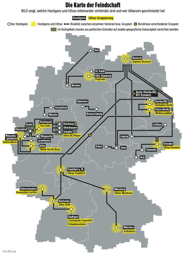 BRENNPUNKT STADION - Die Karte der Ultra-Feindschaft *** BILDplus Inhalt *** - Bundesliga - Bild.de