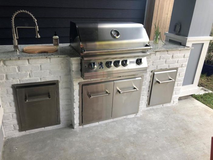 Kitchenaid 33 Outdoor Kitchen Built In Grill Cabinet Double Access Door Silver Small Outdoor Kitchens Outdoor Kitchen Cabinets Outdoor Kitchen Grill
