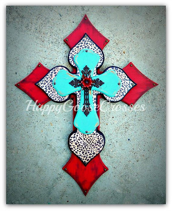 XLarge Wall CROSS  Antiqued Red & Turquoise with by happygoose, $89.95