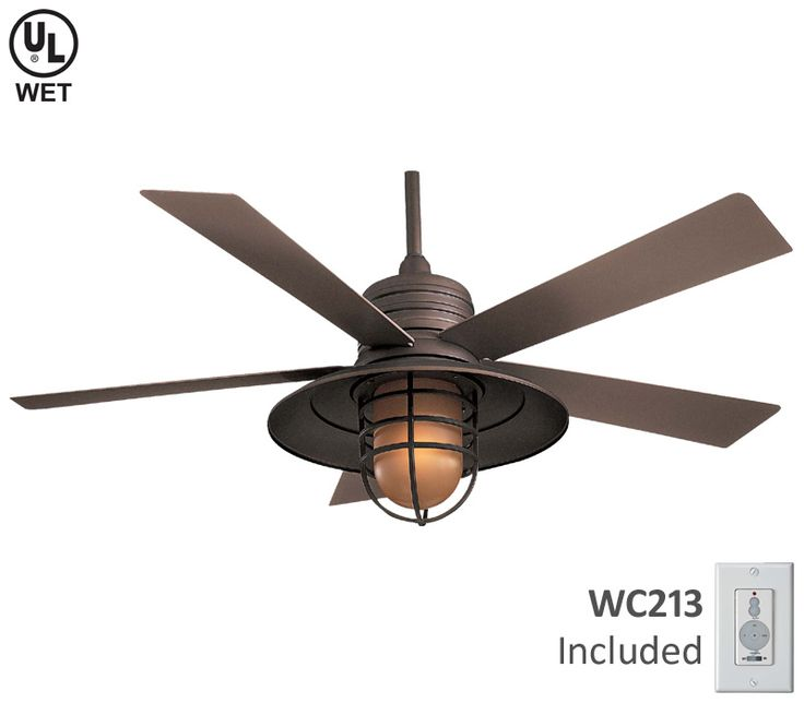 Minka aire f582 gl rainman 54 outdoor ceiling fan with light and wall control galvanized