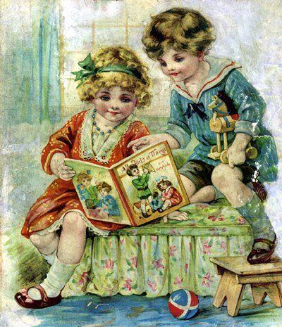Старые открытки с детьми и книгами, открытки