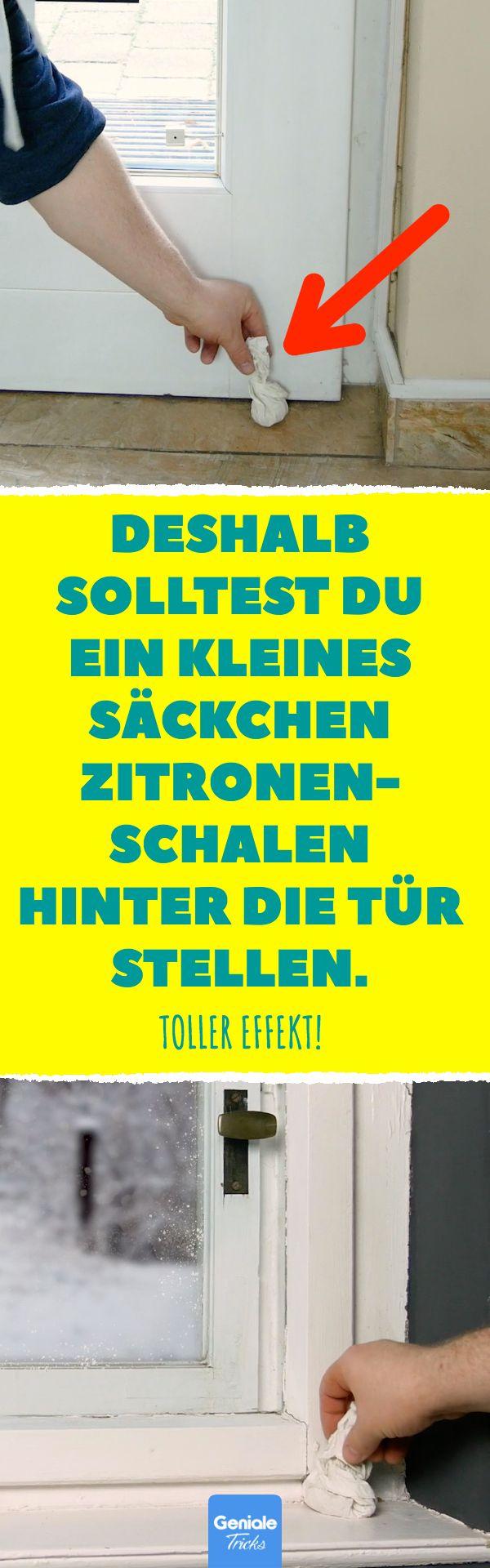 Deshalb solltest du ein kleines Säckchen Zitronen- schalen hinter die Tür stellen. Toller Effekt! #zitronen #lifehacks #haushalt #tipps #tricks #badreiniger #dessert #kühlschrank #Ungeziefer #waschmaschine #Wasserkocher