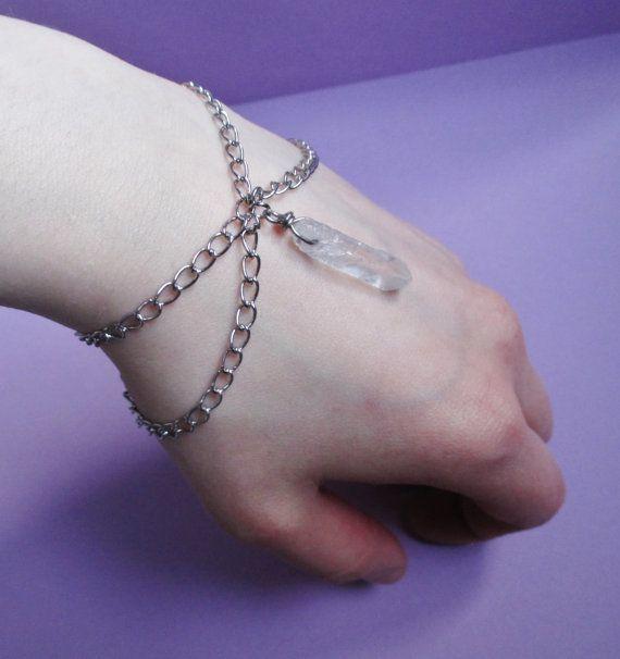 quartz crystal point bracelet, raw crystal bracelet, grunge, gothic, witch jewelry