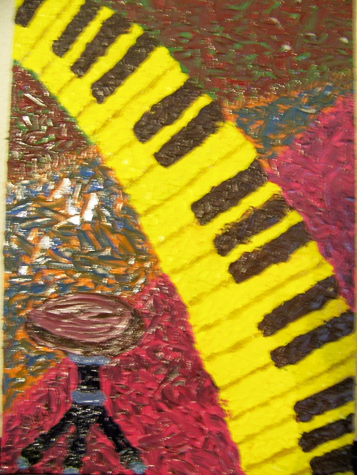 The 3rd in a collection inspired by musical figurines.  Oil on canvas board.  420 x 298 mm