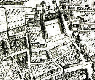 Ralph Agas' panorama of Oxford showing the outline of the foundations for Wolsey's chapel which would have completed the north side of Tom Quad