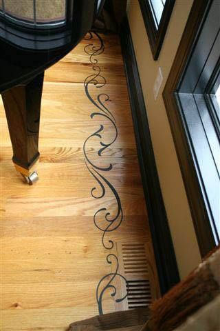 Vinyl on floor to add a decorative touch! Easy to apply and remove! #uppercaseliving #vinyllettering #floor