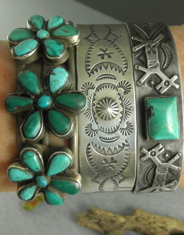 ➳➳➳☮ American Hippie Bohemian Boho Style ~ Jewelry .. Silver Turquoise Bracelets