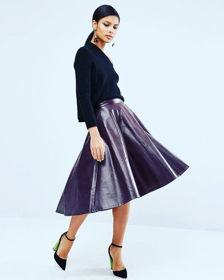 STYLED: Pair this leather skater skirt with your favorite cropped sweater for a chic holiday look! #MonicasCloset #WinterStyle