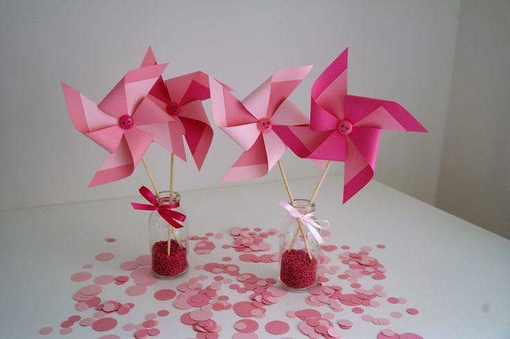Decorazioni - Set 4 Girandole in cartoncino mix rosa - un prodotto unico di PaperLoveFantasy su DaWanda