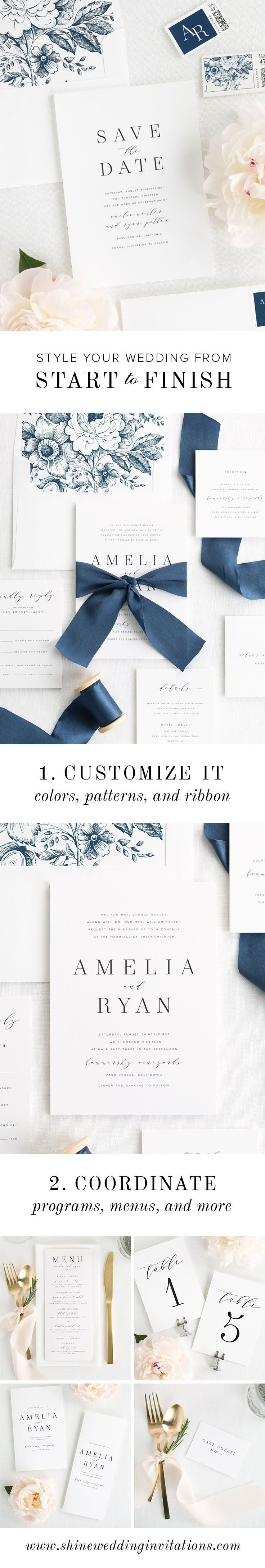 Create a branded wedding invitation suite in your choice of 6 luxurious cardstocks, 40 ink colors, and 9 custom dyed silk ribbons.  Finish the look at your reception with place cards, programs, menus, and more!  Shop Shine Wedding Invitations and get started today!