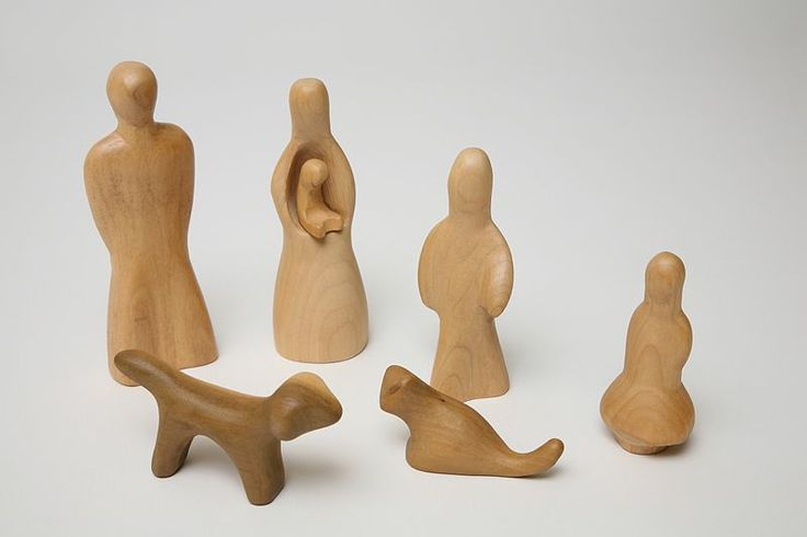 A family set of wooden human figures with dog and cat, from the Playforms range of playthings, Germany, 1968-69, by Antonio Vitali for Ravensburger Toys, imported exclusively into the United States by Creative Playthings.