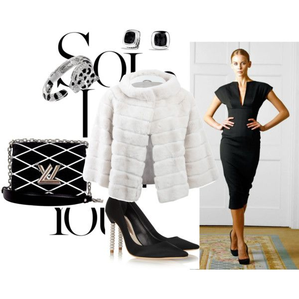 A Luxury black and white set by besyata on Polyvore featuring мода, Yves Salomon, Sophia Webster, Louis Vuitton, Roberto Cavalli and David Yurman