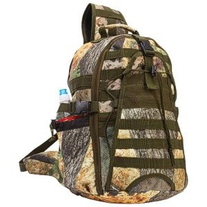 "Wholesale Hunter's Backpack with Camo.  	 Features zippered main compartment and exterior mesh pocket; adjustable padded strap; carrying strap; 1 side water bottle holder; nylon rope pulls; multiple accessory strap slots; heavy-duty buckles; and padded back with snap closure. Measures 11-3/4"" x 17-1/4"" x 7""."