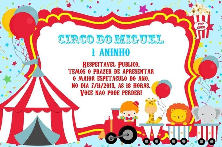 Convite digital personalizado Circo 002