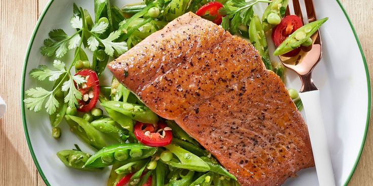 Gingery Snap Pea Slaw with Seared Salmoncountryliving