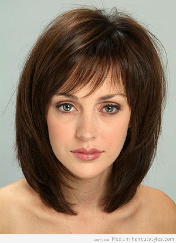 Length Hairstyles  medium length hairstyles with bangs for thin hair