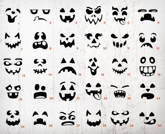 Pumpkin Face Svg Bundle Jack O Lantern Faces Png Bundle Cute Etsy Pumpkin Faces Jack O Lantern Faces Halloween Pumpkins Carvings