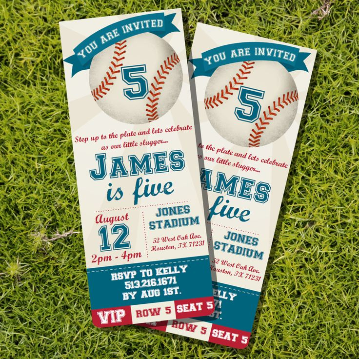 """Baseball Ticket Invitation - This Baseball Ticket Birthday Invitation is an instant download that can be edited and printed at home. Have fun and play ball with a Baseball themed birthday party. INSTANT DOWNLOAD!! EDIT WITH LATEST VERSION OF ADOBE READER!! PRINT AT HOME!! ► Please note the text field """"YOU ARE INVITED"""" on the banner is not an editable field! This listing is for the invitation ONLY. Item does not include color changes, layout changes, font resizing, cropping of template or…"""